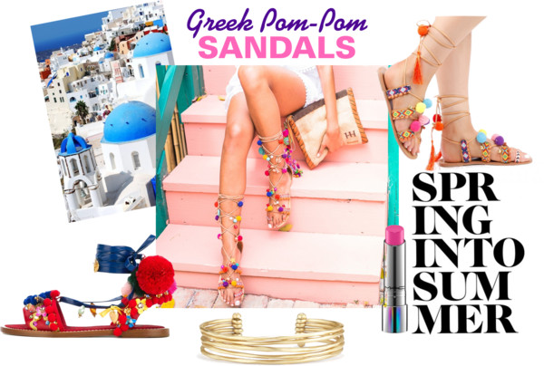 Greek Pom Pom Lace-Up Sandals