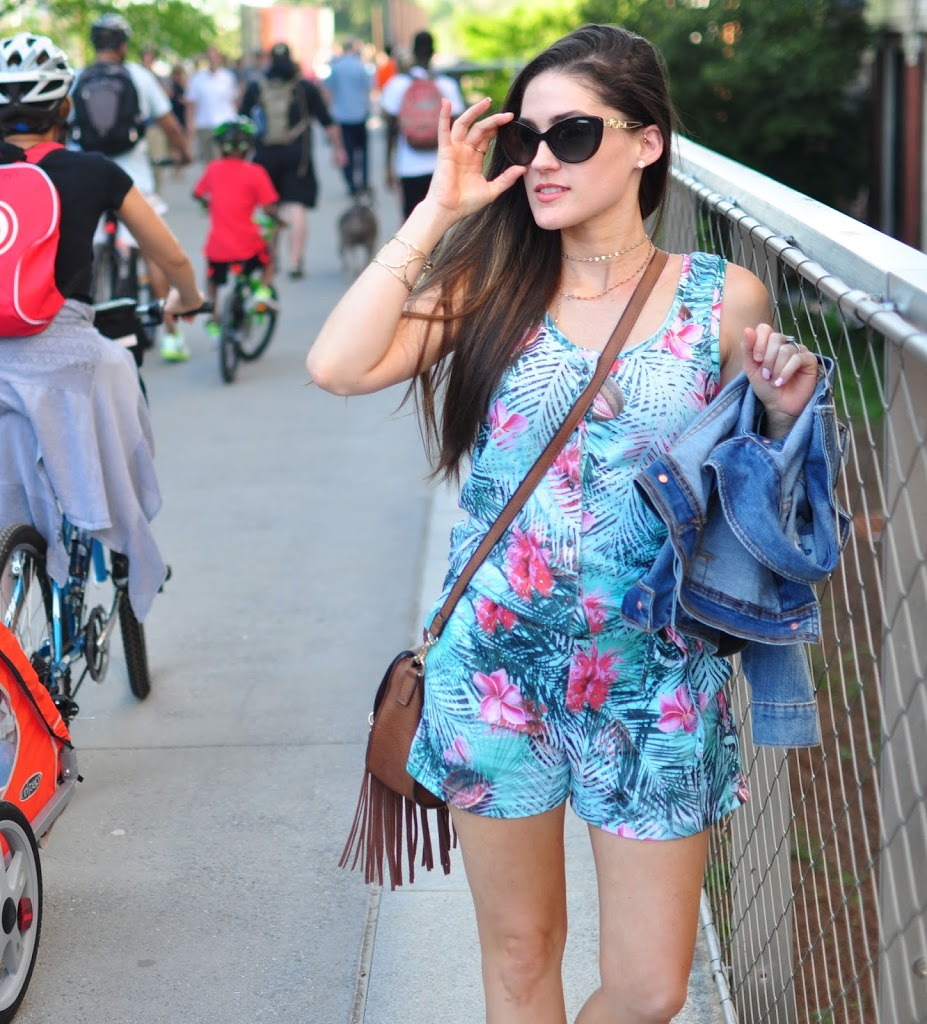 Palm Print Romper by Eleven Paris from Luvit - Styled by Atlanta Fashion Blogger Erica Valentin