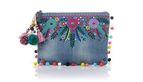 Summer Handbags - Steve Madden Jyme Denim Pom Pom Clutch
