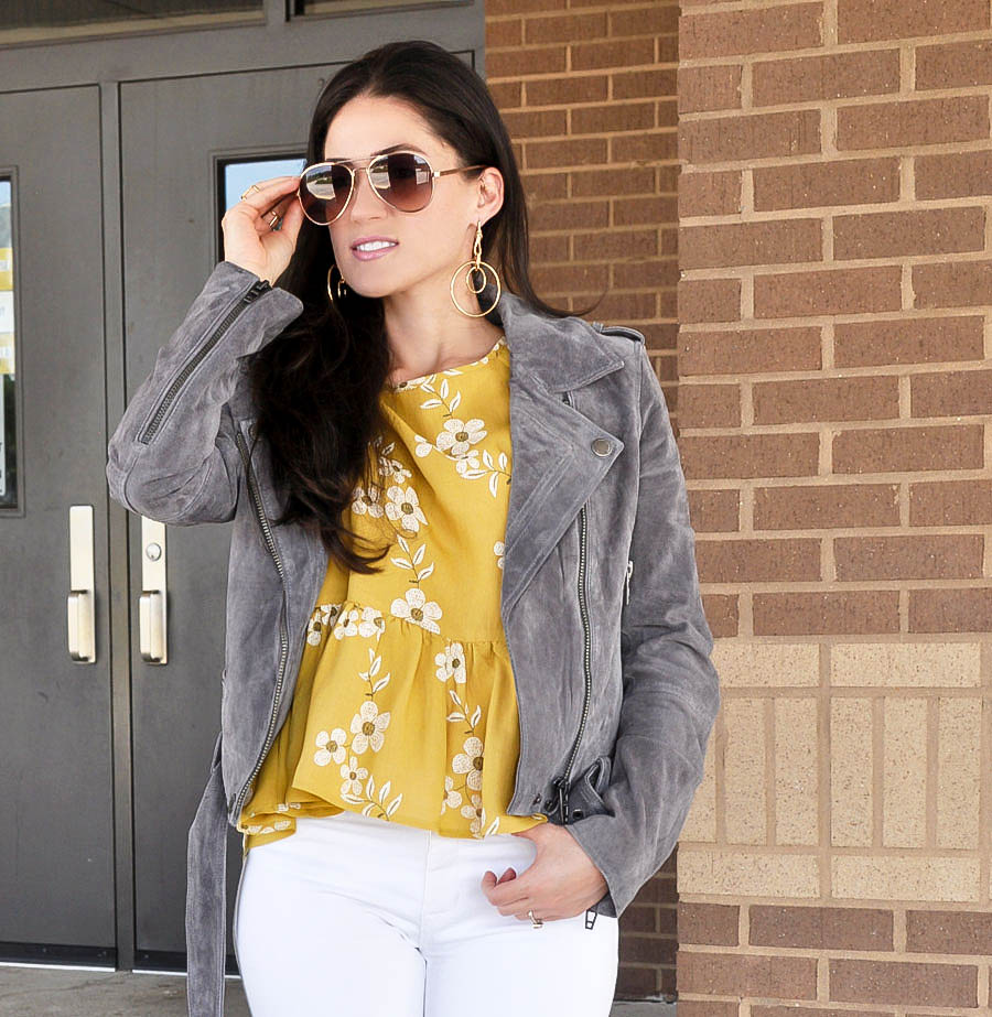 Yellow Floral Peplum Top - Fall Fashion - Style Blogger Erica Valentin